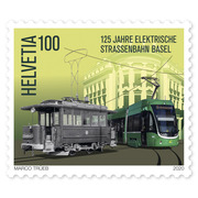 125 years Basel electric tram, Single stamp Single stamp of CHF 1.00, gummed, mint