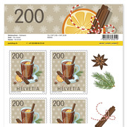 Stamps CHF 2.00 «Mulled wine», Sheet with 10 stamps Sheet Christmas, self-adhesive, mint