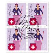 50 years women's suffrage, Block of four Block offour (4 stamps, postage value CHF 4.00), gummed, cancelled