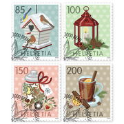 Christmas – wintry moments, Set Set (4 stamps, postage value CHF 5.35), self-adhesive, cancelled