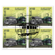 125 years Basel electric tram, Block of four Block offour (4 stamps, postage value CHF 4.00), gummed, cancelled
