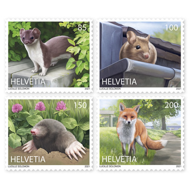 Animals in the city, Set Set (4 stamps, postage value CHF 5.35), self-adhesive, mint