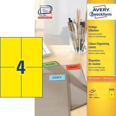 AVERY ZW. Labels 105x148mm 3459 Universal, yellow 10sh. / 4pcs.