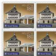 Stamps CHF 1.80 «Scoul», Sheet with 10 stamps Sheet Swiss railway stations, self-adhesive, mint