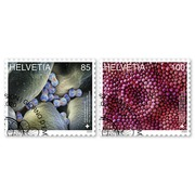 Microscopic art, Set Set (2 stamps, postage value CHF 1.85), gummed, cancelled