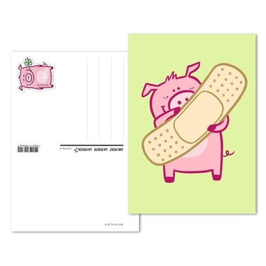 Lucky pig, Pre-franked greeting card «Plaster» Pre-franked greeting card «Plaster» (postage value CHF 1.00)