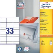 AVERY ZW. Universal labels 70x25,4mm 3421 white, perm. 3300pcs. / 100sh.