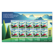 150 years Rigi Railways, Sheetlet Sheetlet with 10 stamps of CHF 1.00, gummed, cancelled
