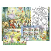 Fairy tales, Set of cards «Forest» Card set «Forest», 6 stamps of CHF 1.00, 6 colouring cards, 1 sticker card, 1 poster in A3 format