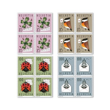 Set of blocks of four «Special events» Set of blocks of four (16 stamps, postage value CHF 14.80), self-adhesive, mint