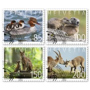 Animal families, Set Set (4 stamps, postage value CHF 5.35), self-adhesive, cancelled
