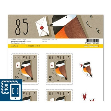 Special events, Sheet «Bird» Sheet with 10stamps «Bird» of CHF 0.85, self-adhesive, mint