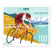 2020 UCI Road World Championships, Single stamp Single stamp of CHF 1.00, gummed, mint
