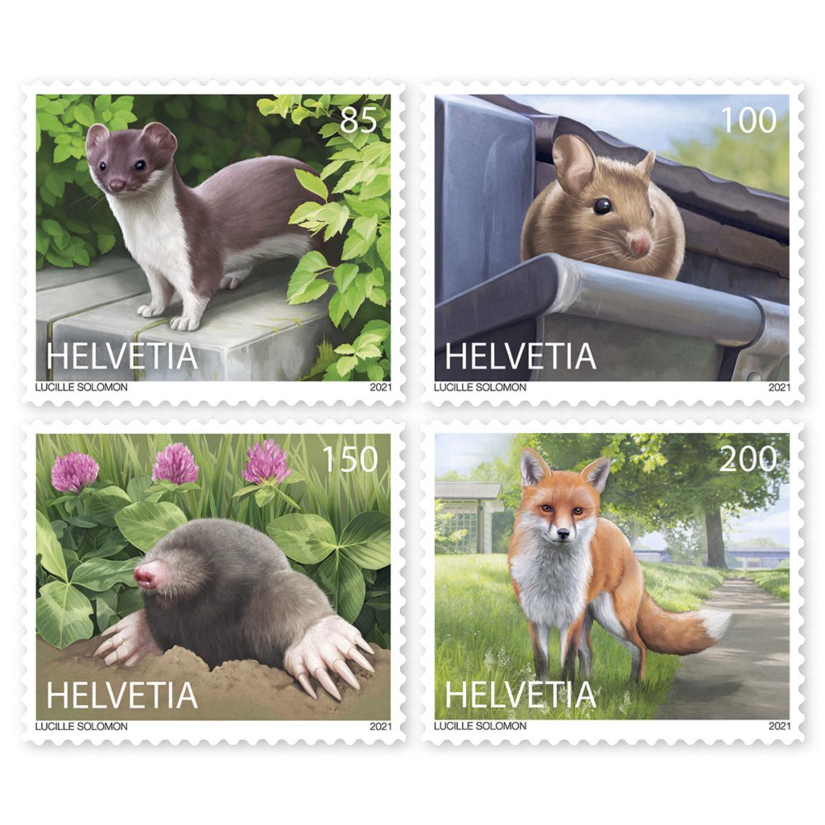 瑞士3月4日发行城市里的动物邮票