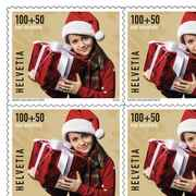 Stamps CHF 1.50 «Christmas gift», Sheet with 10 stamps Series Pro Juventute, self-adhesive, mint