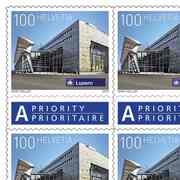 Stamps CHF 1.00 «Luzern», Sheet with 50 stamps Sheet Swiss railway stations, self-adhesive, mint