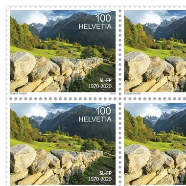 Swiss Foundation for Landscape Conservation, Sheet Sheet with 16 stamps of CHF 1.00, gummed, mint