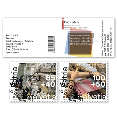 Pro Patria 2020 - Living cultural heritage Stamp booklet with 4 stamps at CHF 0.85+0.40 with «Foundation Sitterwerk St. Gallen» motif and 6 stamps at CHF 1.00+0.50 with «Foundation Tessanda Val Müstair» motif, gummed, cancelled