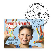 Pro Juventute - Happy childhood Stamp booklet with 12 stamps, postage value CHF 11.12+5.40, gummed, cancelled