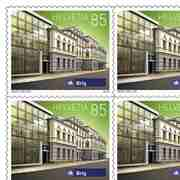 Stamps CHF 0.85 «Brig», Sheet with 50 stamps Sheet Swiss railway stations, self-adhesive, mint