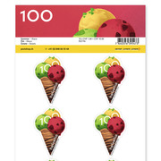Stamps CHF 1.00 «Ice cream», Sheet with 10 stamps Sheet Summer, self-adhesive, mint