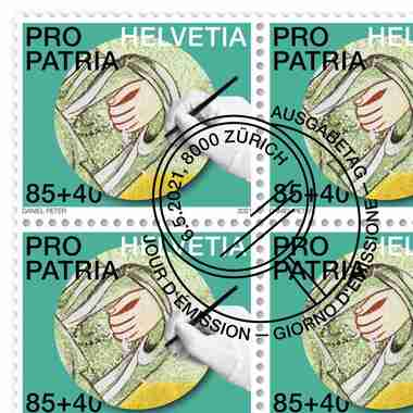 Craftsmanship and cultural heritage, Sheet «Fresco» Sheet with 20 stamps  «Fresco» of CHF 0.85+0.40, gummed, cancelled