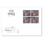 100 years florist.ch, First-day cover Blocks of four (4 stamps, postage value CHF 4.00) on first day cover (FDC) C6