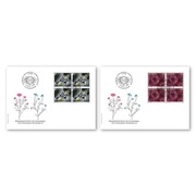 Microscopic art Blocks of four (8 stamps, postage value CHF 7.40) on 2 first day covers (FDC) C6