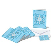 Christmas, Set of cards  «Snowflake» Set of 4 A6 double cards with the motif «Snowflake», 4 C6 covers and 4 «Snowflake» Christmas stamps (CHF 1.00) (not affixed)