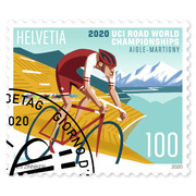 2020 UCI Road World Championships, Single stamp Single stamp of CHF 1.00, gummed, cancelled