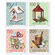 Christmas – wintry moments, Set Set (4 stamps, postage value CHF 5.35), self-adhesive, mint