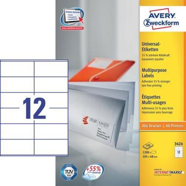 AVERY ZW. Universal labels 105x48mm 3424 white,perm. 1200 pcs. / 100 sh.