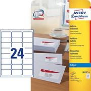 AVERY ZW. Adress Labels 63.5x33.9mm J8159 - 25 white 25sh. / 24pcs.