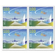 100 years Geneva Airport Set of blocks of four (4 stamps, postage value CHF 4.00), gummed, mint