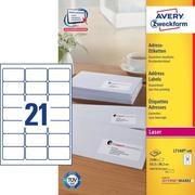 AVERY ZW. Etiquettes address 63,5x38,1mm L7160 - 100 QuickPEEL, blanc 100fl. / 21pc.