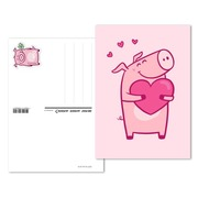 Lucky pig, Pre-franked greeting card «Heart» Pre-franked greeting card«Heart» (postage value CHF 1.00)