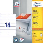 AVERY ZW. Universal labels 105x42,3mm 3653 white,perm. 1400 pcs. / 100 sh.