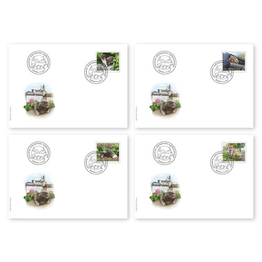 Animals in the city, First-day cover Single stamps (4 stamps, postage value CHF 5.35) on 4 first-day covers (FDC) C6