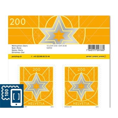 Christmas, Sheet «Star» Sheet with 10 stamps «Star» of CHF 2.00, self-adhesive, mint