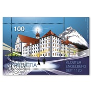 900 years Engelberg Monastery, Miniature sheet Miniature sheet of CHF 1.00, gummed, cancelled