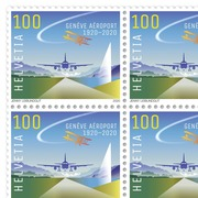 100 years Geneva Airport, Sheet Sheet with 20 stamps of CHF 1.00, gummed, mint