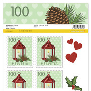 Stamps CHF 1.00 «Lantern», Sheet with 10 stamps Sheet Christmas, self-adhesive, mint