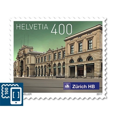 Swiss railway stations, Set Single stamp of CHF 4.00, self-adhesive, mint