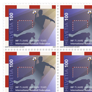 75 years IHF International Handball Federation, Sheet Sheet with 20 stamps of CHF 1.00, gummed, mint