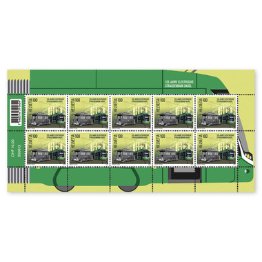 125 years Basel electric tram, Sheetlet Sheetlet with 10 stamps of CHF 1.00, gummed, mint