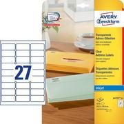 AVERY ZW. Labels 63,5x29,6mm J4721 - 25 transparent 675 pcs.