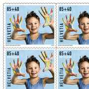Stamps CHF 1.25 «Finger painting», Sheet with 10 stamps Series Pro Juventute, self-adhesive, mint