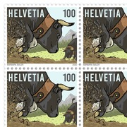 100 years Swiss Federation of livestock farming of the Hérens breed, Sheetlet Sheet with 20 stamps of CHF 1.00, gummed, mint
