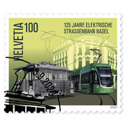 125 years Basel electric tram, Single stamp Single stamp of CHF 1.00, gummed, cancelled