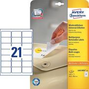 AVERY ZW. Universal labels 63,5x38,1mm L6023REV white,non - perm. 525pcs. / 25sh.